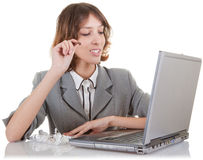 Woman and laptop. Business woman  and laptop on white background Stock Image