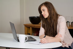 Woman with a laptop Stock Photography