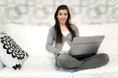 Woman with laptop Stock Photos
