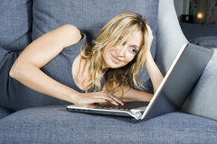 Woman with laptop. Royalty Free Stock Photo