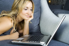 Woman with laptop. Royalty Free Stock Photos