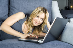 Woman with laptop. Royalty Free Stock Photography