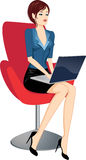 Woman with laptop. Illustration stock illustration