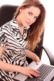 Woman with laptop Royalty Free Stock Image
