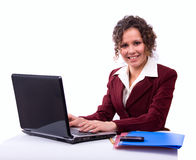Woman with laptop Stock Images