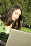 Woman with a Laptop Stock Images
