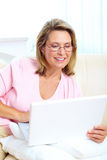 Woman with laptop stock image
