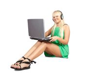 Woman with a laptop Stock Image