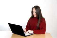 Woman at laptop Royalty Free Stock Photo
