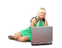Woman with a laptop Stock Photo