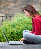 Woman on a laptop Royalty Free Stock Images