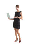 Woman with laptop. Young woman with laptop isolated on white Royalty Free Stock Photos