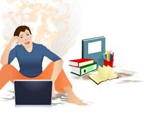 Woman and laptop Stock Photos