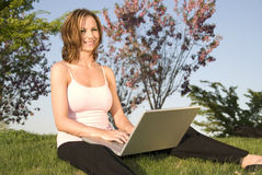 Woman with laptop. Stock Photos