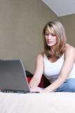 Woman with laptop. Woman with wireless laptop Stock Photos
