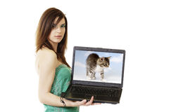 Woman-Laptop Stock Images