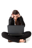 Woman with laptop. Worry girl seat on ground with laptop, isolated on white background Stock Photography