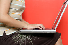 Woman and laptop Royalty Free Stock Photography