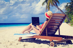 Woman with laptop on beach vacation Royalty Free Stock Images