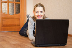 Woman with the laptop Stock Photography