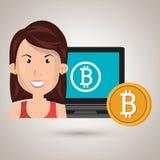 Woman laptop bitcoin online Stock Photo