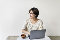 Woman Laptop Browsing Searching Social Networking Technology Con Royalty Free Stock Photo