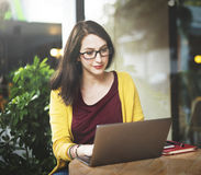 Woman Laptop Browsing Searching Social Networking Technology Con Stock Images