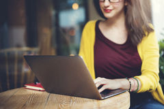 Woman Laptop Browsing Searching Social Networking Technology Con. Cept Royalty Free Stock Images