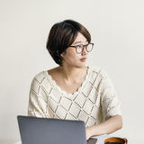 Woman Laptop Browsing Searching Social Networking Technology Con Royalty Free Stock Photography