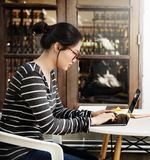 Woman Laptop Browsing Searching Social Networking Technology Con. Cept Stock Photo