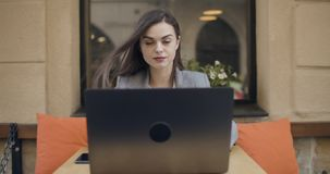 Woman with Laptop stock footage