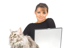 Woman with laptop and cat Stock Photography
