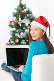 Woman with laptop. stock photo