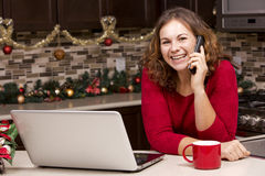 Woman with laptop in Christmas kitchen Stock Photography