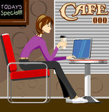 Woman with laptop in coffee shop. Illustration of woman with laptop in coffee shop Royalty Free Stock Image
