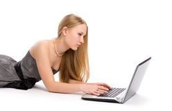 Woman with a laptop computer Royalty Free Stock Photo