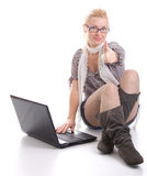 Woman with a laptop computer Royalty Free Stock Image