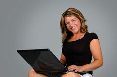 Woman with Laptop Computer Royalty Free Stock Image