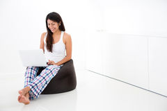 Woman with a laptop computer Stock Photos