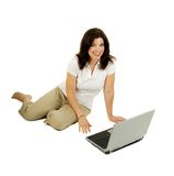 Woman And Laptop Computer Stock Images