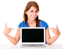 Woman with a laptop computer Stock Images