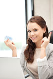 Woman with laptop computer and euro cash money Royalty Free Stock Image