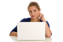 Woman with laptop computer Stock Image