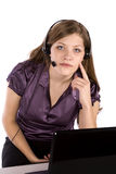 Woman and laptop with finger to face Royalty Free Stock Photo