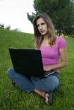 Woman laptop grass Stock Photos