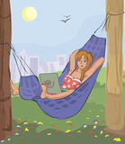 Woman with laptop in hammock outdoors. Funny vector illustration Royalty Free Stock Photography