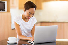 Woman laptop at home Royalty Free Stock Photography