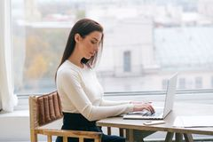 Woman with laptop home working using internet. Indoor shot royalty free stock photo