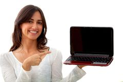Woman with a laptop isolated Stock Images