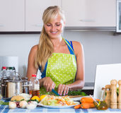 Woman with laptop at kitchen Stock Image